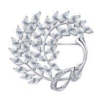 Брошь из серебра с фианитами, арт. 94-140-00486-1