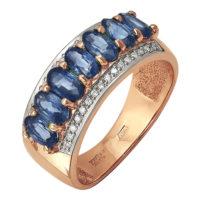 Кольцо из красного золота с бриллиантами и сапфирами, арт. 223-112