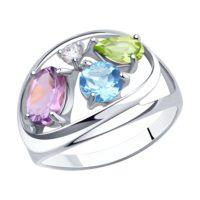 Кольцо из серебра с миксом камней, арт. 94-310-00659-1
