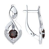 Серьги из серебра с гранатами и фианитами, арт. 94-320-00380-2