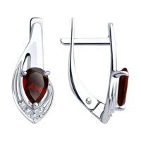 Серьги из серебра с гранатами и фианитами, арт. 94-320-00550-2