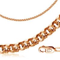 Цепь ручной работы из красного золота, плетение бисмарк арт. 12080382165