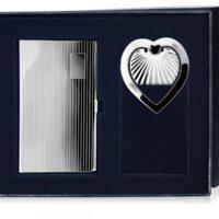 Набор серебряная визитница и закладка для книг «Сердечко»