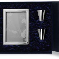 Набор рамка для фото «Рим» 10*15 и 2 стопки гладкие, серебро